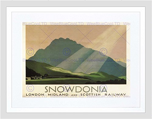 TRAVEL RAILWAY RAIL SNOWDONIA WALES MOUNTAIN SUN UK BRITAIN LMSR PRINT B12X1674 (Rail Gerahmt)