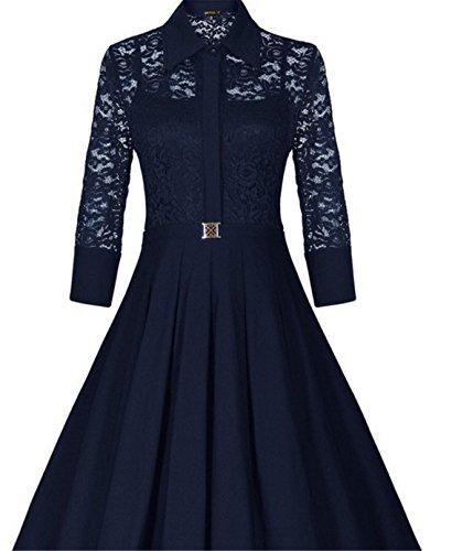 SHUNLIU Damen Spitzen Cocktailkleid 2017 3/4 Ärmel Elegant Knielang Retro moderne Ballkleid Faltenrock Party Kleid Schwarz EU34-48 Blau