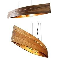 Hängeleuchte Holz CANOT GRAND - Pendelleuchte aus Eiche oder Nussbaum - Textilkabel - made in Germany - LED Designer Deckenleuchte Massivholz 2xE14 Esszimmer, Esstisch, Wohnzimmer, Flur handgemachte Hängelampe