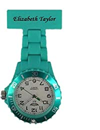 PERSONALIZED PRINCE NY LONDON WHITE SILICONE RUBBER PLASTIC NURSE FOB WATCH NURSE BROOCH IN TURQUOISE COLOUR