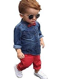 para muchachos fijó ropa,RETUROM la moda fresca 1 cabritos determinados muchachos del niño hermoso del dril de algodón de la camiseta + pantalones pantalones de ropa Trajes