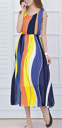 Monissy Femmes Robe En Mousseline De Soie Imprimée Eté Sans Manches Jupe Bohème Jupe De Plage Nouvelle Multicolore 7