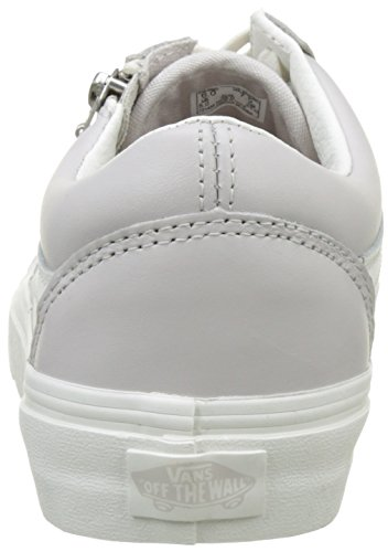 Vans Ua Old Skool Zip, Baskets Basses Femme Gris (Leather Wind Chime/blanc De Blanc)