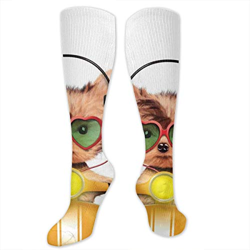 Unisex Highly Elastic Comfortable Knee High Length Tube Socks,Funny Puppy Riding A Motorbike With Heart Shapes Glasses And Headphones Humor,Compression Socks Boost Stamina,Multicolor (Womens Bamboo Riding Boots)