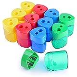 WXJ13 4 Farben Doppel Loch Manuelle Bleistift Spitzer mit Abdeckung für Büro und Schule, 12 Stück