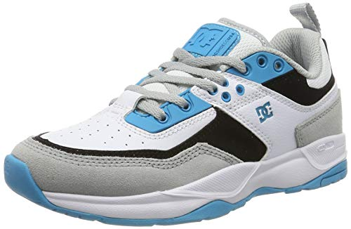 DC Shoes DCSHI E.tribeka-Shoes for Boys, Zapatillas de Skateboard para Niños, Grey/Blue/White, 35...