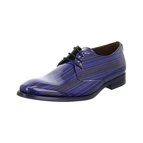 Floris van Bommel  18032-00 Blue Black Patent, Chaussures de ville à lacets pour homme Bleu