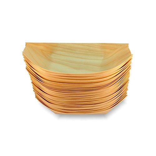 Petits bateaux en bois de bambou de 22 x 11 cm - Idéal pour les fêtes et les banquets - Lot de 50 marron