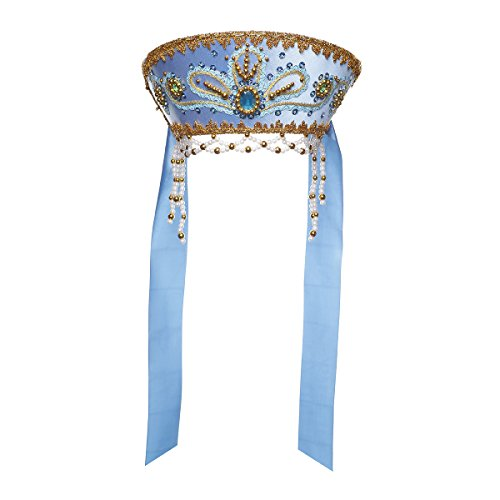 Russisch Traditionelles Volkskostüm - Kopfschmuck Kokoshnik Victoria hellblau - Russische Kostüm Traditionelle