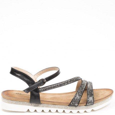Ideal Shoes - Sandales plates avec brides incrustées de strass Suzie Noir