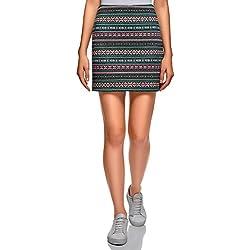 oodji Ultra Mujer Falda de Punto con Estampado Étnico, Verde, ES 34 / XXS