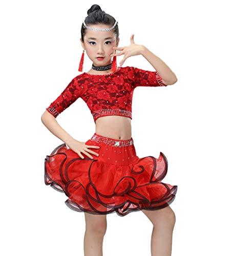 ZYLL DressesKind Latin Dance Outfits, Rock Latin KostüM Gymnastikanzug Tanzkleid Ballsaal Salsa Tanzkleid Rot, Rose Rot, Blau, - Latino Kostüm