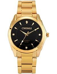 FQ-169 Chenxi Simple de acero inoxidable de oro para hombre relojes de pulsera diamantes de imitación de color negro