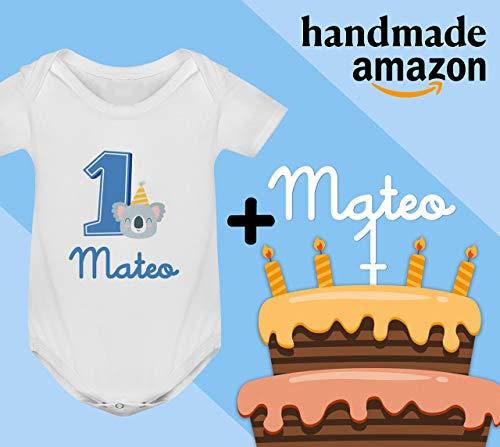 Conjunto regalo cumpleaños Cake Topper + Body o camiseta personalizado con el nombre decoración fiesta animales para Bebes Unisex Niños Niñas primer cumpleaños
