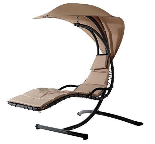 SHS Hängeliege FIJI in Beige / Hängesessel / Sessel / Gartenliege / Lounge Möbel / Relax Liege / Relaxliege / Gartenmöbel / Hängematte / Freischwinger / Sonnenschutz /