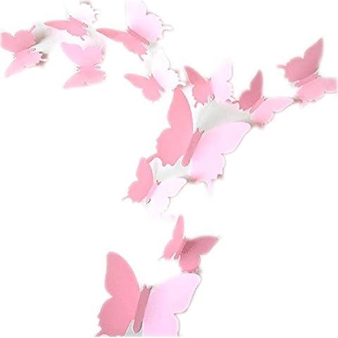 ROPALIA 12Pcs Stickers Muraux de Papillons 3D Autocollants Décoration Murale Amovible Réutilisable Pour Chambre Salon (Rose )