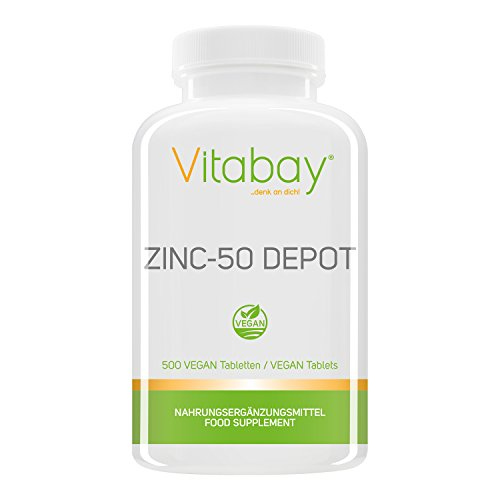Zinc-50 Depot - 25 mg Zink (Elementargehalt) pro 1/2 Tablette - aus reinem hochdosierten Zink Gluconat - 100% Vegan - 500 XXL vegane Tabletten