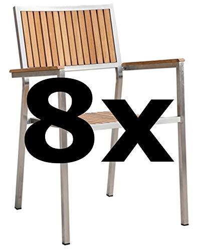 8Stk Designer Gartenstuhl mit Armlehne Gartensessel Stapelstuhl Stapelsessel Sessel Kuba-Teak Edelstahl Teak A-Grade stapelbar sehr robust von AS-S - Edelstahl-stapelstühle