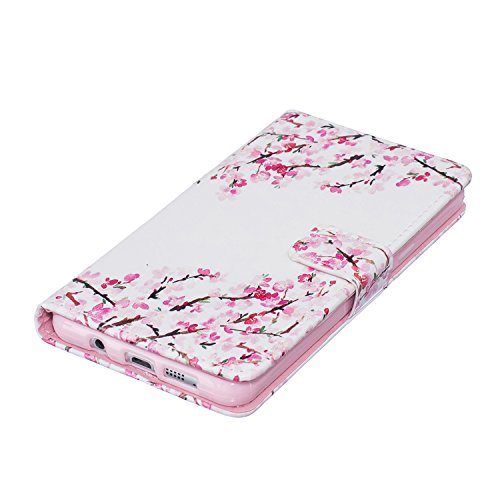Coque pour LG G3, Etui pour LG G3, ISAKEN Peinture Style Soulagement de la couleur PU Cuir Flip Magnétique Portefeuille Etui Housse de Protection Coque Étui Case Cover avec Stand Support et Carte de C Fleur rouge