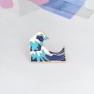 Yinew Blaue Wellen Brosche Emaille Dornschließe Cartoon Metall Brosche für Jacke Mantel Tasche Pin Badge Meer Schmuck Geschenk für er