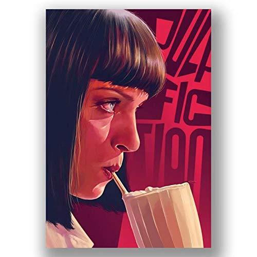 Box Prints Pulp Fiction Mia Wallace Film Film Vintage Retro-Stil Poster Leinwand Wandkunst drucken Bild groß klein -