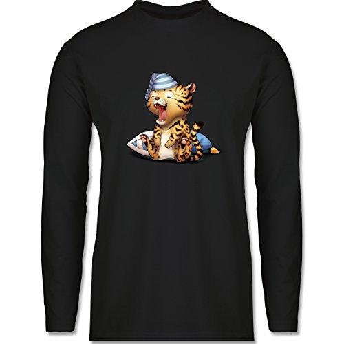 Wildnis - Gähnender Leopard - Longsleeve / langärmeliges T-Shirt für Herren Schwarz