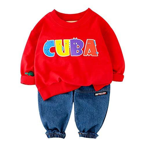 Livoral Kleinkind Baby Kinder Jungen Brief Frühling Pullover T-Shirt Sweatshirt Tops Hosen Set(#3 Rot,3-4 Jahre)