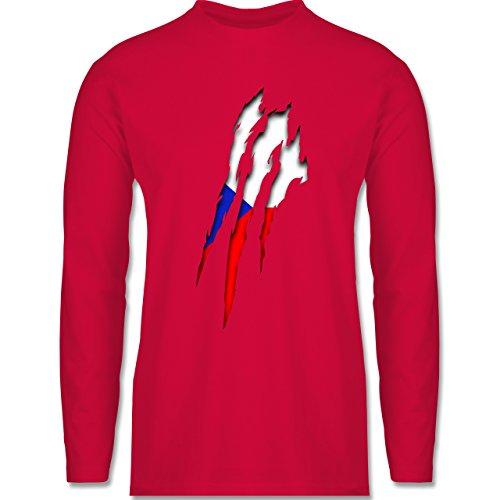 Shirtracer Länder - Tschechien Krallenspuren - Herren Langarmshirt Rot