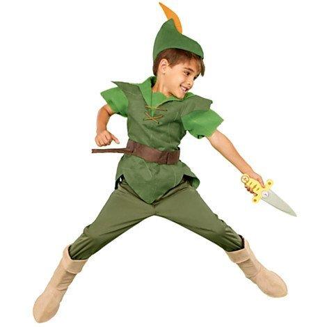 Autentico, negozio originale Disney Peter Pan Costume di fantasia per i bambini - Include tunica, pantaloni, cappello e stivale in pelle scamosciata copre - formato 11 - 12 anni