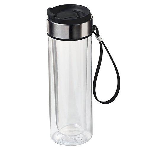 ®elasto Doppelwandige Isolierflasche Maverick Wasserflasche 330ml aus Tritan Trinkflasche Getränkeflasche BPA-Frei transparent-schwarz - Glas Maverick