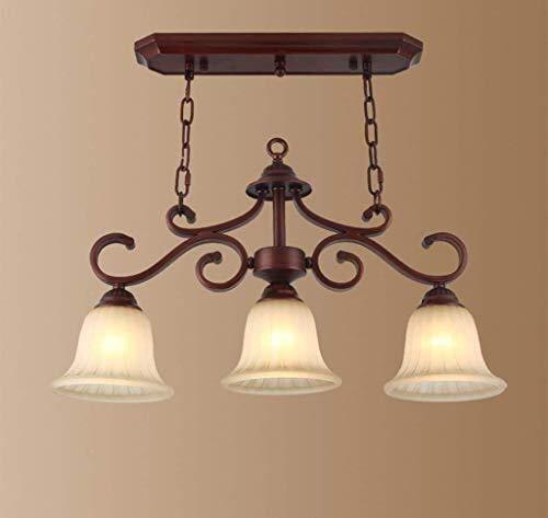 HongLianRiven Möbel Wohnaccessoires Kronleuchter Eisen Glas American Retro Schmiedeeisen Kronleuchter Glühlampen Energiesparlampe Led 10-6 (Color : Warm Light, Size : Warm Light) -