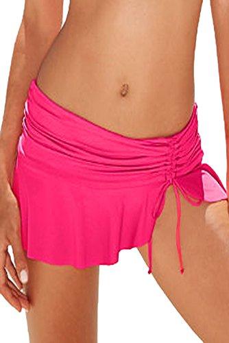 New Rosy Seite Krawatte Skirted Hipster Swim Bikini Bottoms Badeanzug Bademode Sommer tragen Größe UK 12EU 40 (Seite-krawatte-hipster)