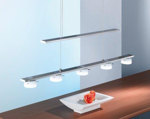 Paul Neuhaus 2054-55 - Lámpara de techo con bombillas LED, acero (5 bombillas de 6,7 W)