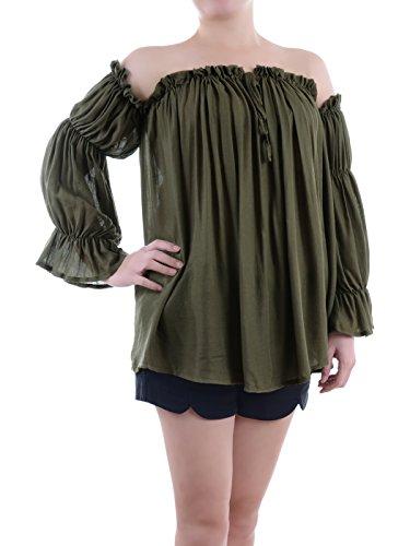 Anna-Kaci Damen Weiß Boho Chiffon Langarm Schulterfrei Faltenwurf Semi Sheer einfach Shirt Top, Größe XX-Large, Farbe Olivgrün (Grün Sheer)