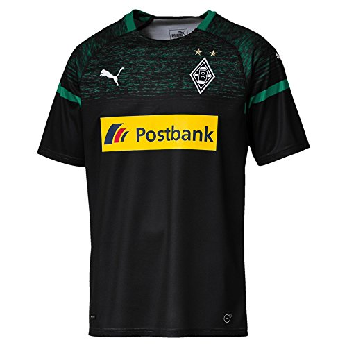 PUMA Herren BMG Away Replica with Sponsor Logo Trikot, Black/Power Green, S