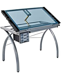 Studio Designs Futura Craft Station, Glass, Metal, Silver/Blue