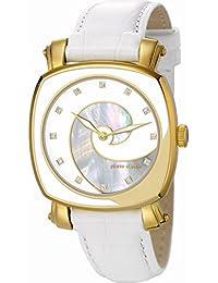 Pierre Cardin Fresque - Reloj analógico de cuarzo para mujer, correa de piel, color dorado/madreperla/blanco