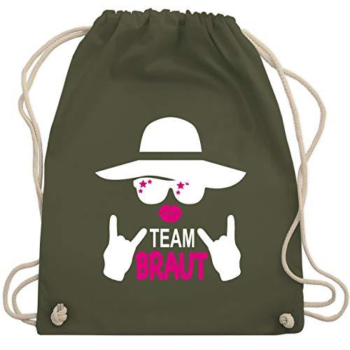 JGA Junggesellinnenabschied - Rocker Team Braut - weiß - Unisize - Olivgrün - WM110 - Turnbeutel & Gym Bag (Bachelorette Outfit Ideen)