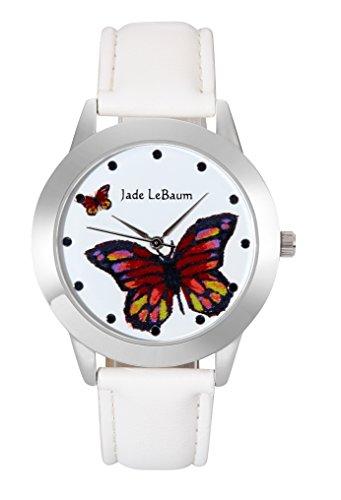 Jade Lebaum Le signore Orologio da Di grandi dimensioni Faccia farfalla Quadrante in bianco Leather Banda Argento Tono Caso Unico JB202813G