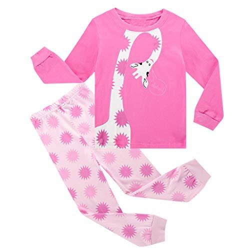 Livoral Mädchen Tier Cartoon Pyjamas Tops Nachtwäsche Hosen Kleinkind Kinder Baby Jungen Kleidung(#4,2-3 Jahre)