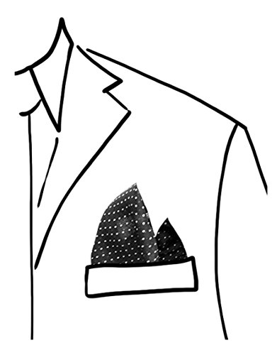 Pochette da taschino per giacca/abito 100% poliestere colore nero con pois spillo bianco misura cm 30 x 30 tessago made in italy