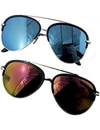 HAND H1060 stilvolle 5349 Stil gespiegelt Unisex Pilotenbrille in einer Gunmetal grau Frame sortiert - 100% UV400 Schutz, 2 Stück