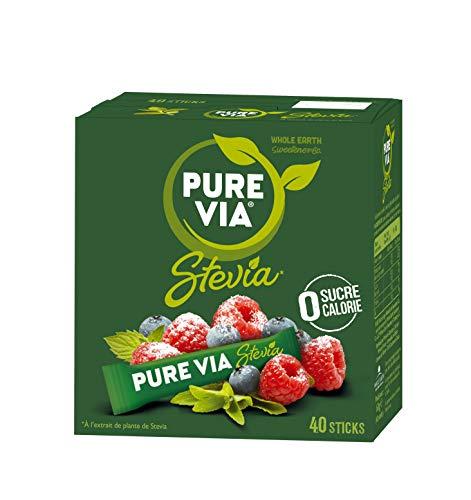 PURE VIA - Boîte 40 sticks - Stevia - Zéro Calorie - Lot de 4