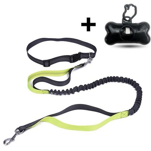 Jogging-Leine MOMONY Premium freihändiges Hund Führleine, Sicherheits-Reflektoren verstellbarem Hüftgurt, 1.9 M Strapazierfähigem Nylon Bungee Einziehbare Hundegeschirr, Freihändigen Hundeleinen