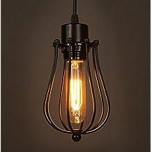 Retro Vintage Colgante de Luz E27 - Estilo industrial Iluminación Colgante, Moderna Lámpara de Techo para Loft Jardín Restaurante Coffee Bar (Tipo:Jaula)