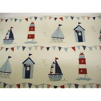 Sail Boats and Beach Huts BLUE Wipe Clean Cotton Oilcloth Tablecloth 200cm x 132cm