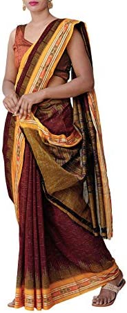 ODISHA HANDLOOM Women's Sambalpuri Cotton Saree Without Blouse Piece (m y jhr_Mar