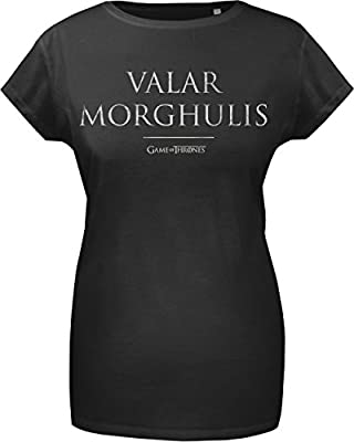 GoZoo Game Of Thrones Women's Valar Morghulis T-Shirt Black, 100% Cotton