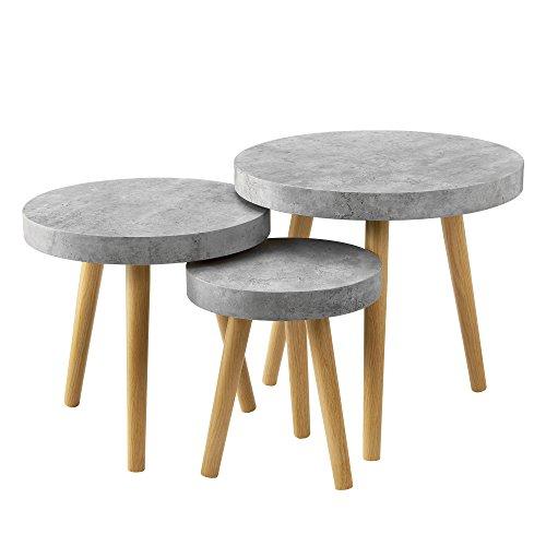[en.casa] 3er Set Design Beistelltische Rund in Beton-Optik / Couchtisch / Wohnzimmer