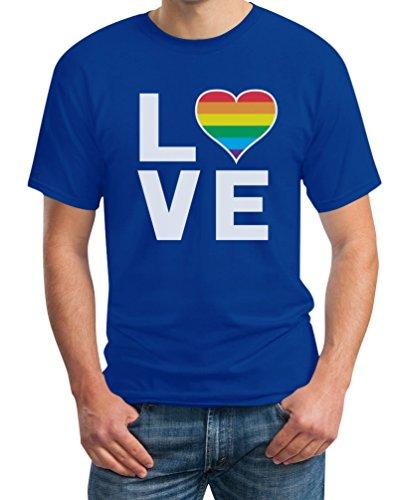 LGBT Shirt Homosexuell Gay Pride Regenbogen Herz in Love Rainbow Herren T-Shirt Medium ()